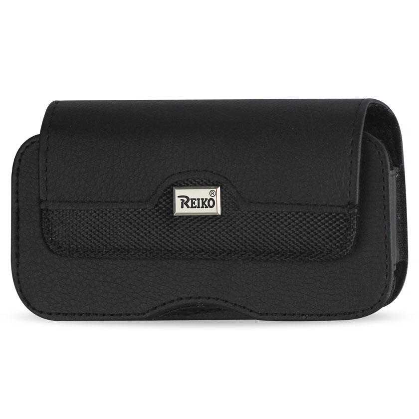 Reiko Rugged Horizontal Leather Pouch With Metal Logo And Magnetic Closure In Black HP100B-BK