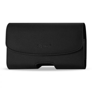 Reiko Horizontal Leather Pouch With Magnetic Clasp And Embossed Logo In Black HP102A-BK