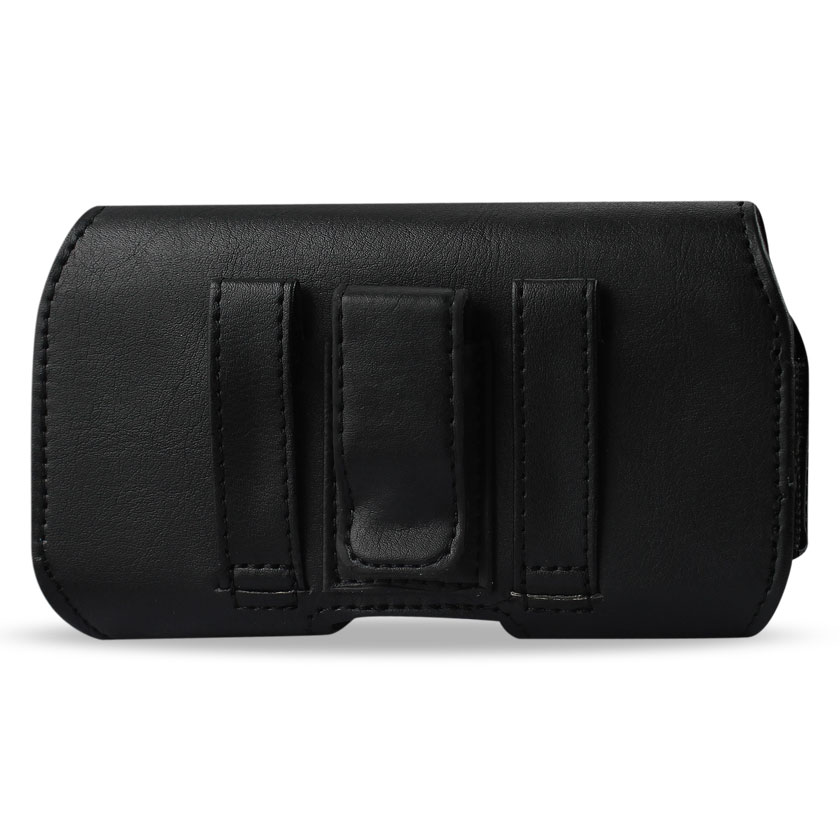 Reiko Horizontal Leather Pouch With Z Lid Pattern With Embossed Logo Black In Poly Bag Packaging HP115A-BK