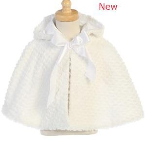 WHITE Faux fur cape with hood 1111