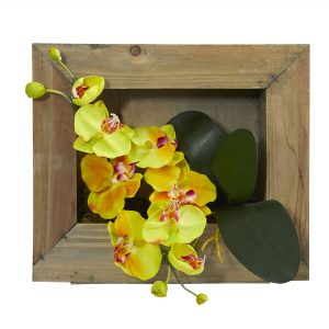 Phalaenopsis Orchid Artificial Arrangement in Wooden Picture Frame 1494
