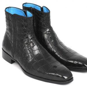 Paul Parkman Black Crocodile Side Zipper Boots BT87FH65