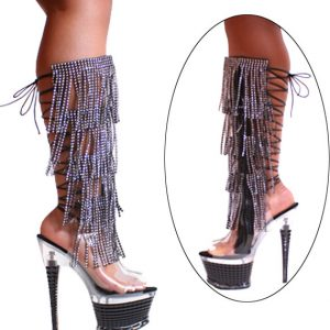 Karo Clear 7 inch heels Black Rhinestone Fringes with Zipper Black 3215 K/H