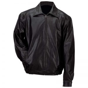Gianni Collani Men's Solid Genuine Leather Bomber-Style Jacket GFBSL