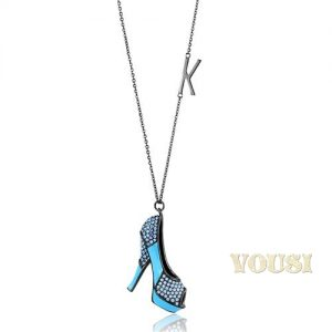 Aquamarine Blue Crystal Heels Shoe Stainless Steel 24 inch Necklace NE0T-08504
