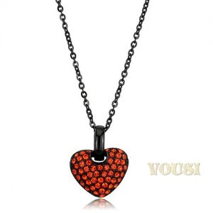 Crystal Heart 18 inch Stainless Steel Necklace NE0T-08587
