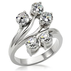 CLEAR CZ CUBIC ZIRCONIA STAINLESS STEEL RING ID RI0T-05777