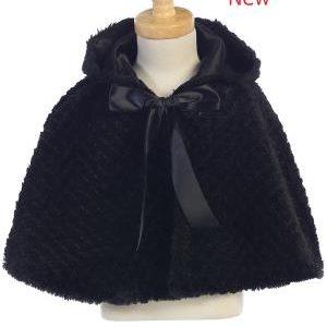 BLACK Faux fur cape with hood 1111