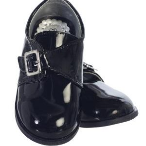 Lito Boy's Ryder patent shoes with velcro Black
