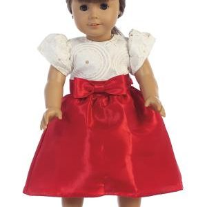"Embossed lace & taffeta 18"" inch American Doll dress"