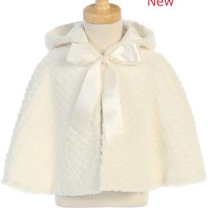 Ivory Faux fur cape with hood 1111