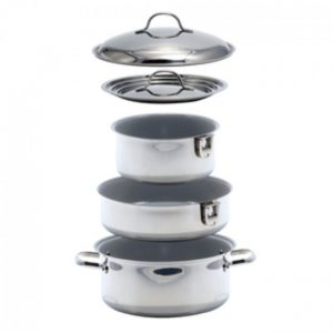 Kuuma 7-Piece Ceramic Nesting Cookware Set - Stainless Steel Non-Stick Coating Induction Compatible Oven Safe CWR-57038