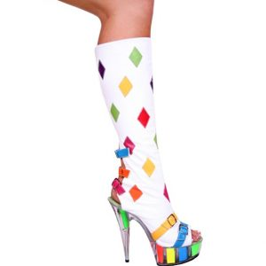 Karo White Leather with Multi Color Diamonds Knee High Boots 6 inch Heels 3269-Knee High
