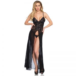 Leg Avenue 2 piece Mesh and lace high slit long gown and matching g-string panty O/S BLACK 63965
