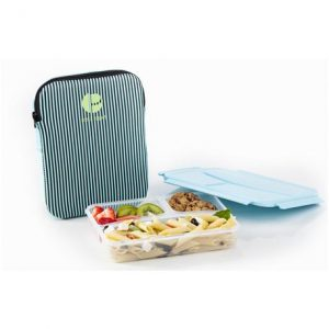 Bentostyle 3 Compartment Striped Sleeved Lunch Container PRE-L1000323