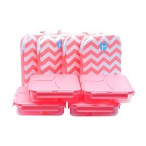 Bento Style 3 Compartment Chevron Lunch Containers 4 Pack PRE-L1000348-4