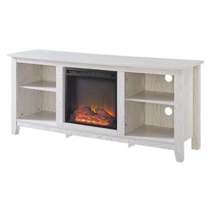 Whitewash 58-inch TV Stand Electric Fireplace Space Heater WTVSESHF7396281