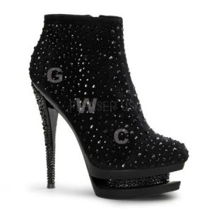 Pleaser Fascinate-1011 6 inch Stiletto Heel 1 1/2 inch Dual Platform Ankle Boots gwpufa1011bsm