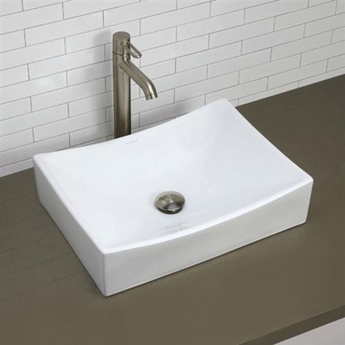Modern Rectangular White Ceramic Vessel Bathroom Sink with Curved Interior REVBS195312
