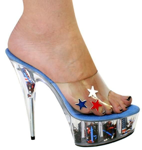 "Karo 0917 USA Collection Platform 6"" inch Clear Heels"
