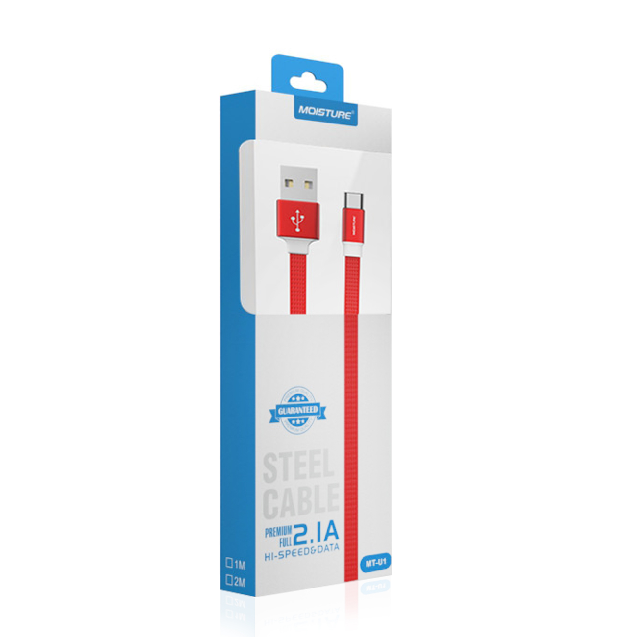High Speed Type-C Steel Data Cable in Red M2RFA-DCU1-TYPECRD