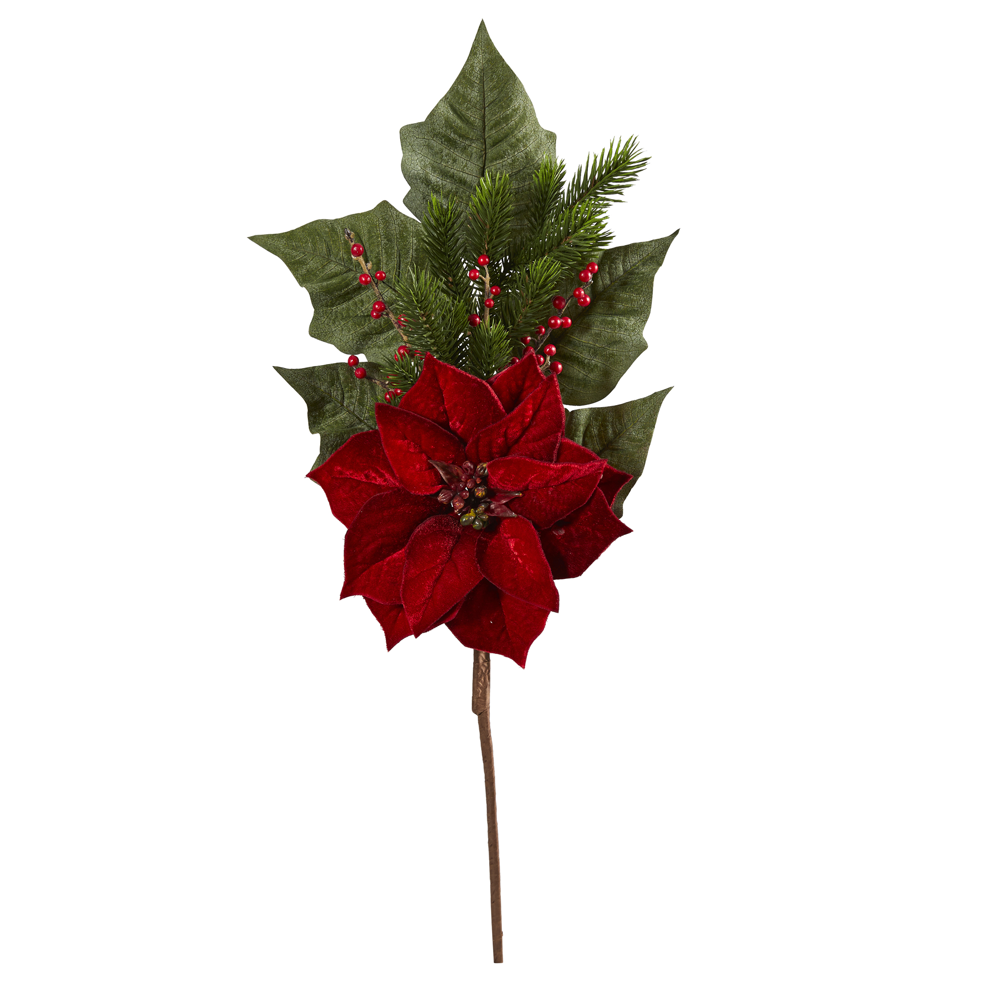 """31"""" Poinsettia, Berries And Pine Artificial Flower Bundle (Set Of 3)"""