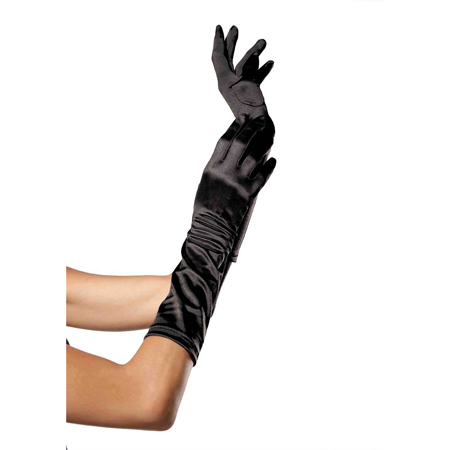 Elbow Length Satin Glove O/S BLACK