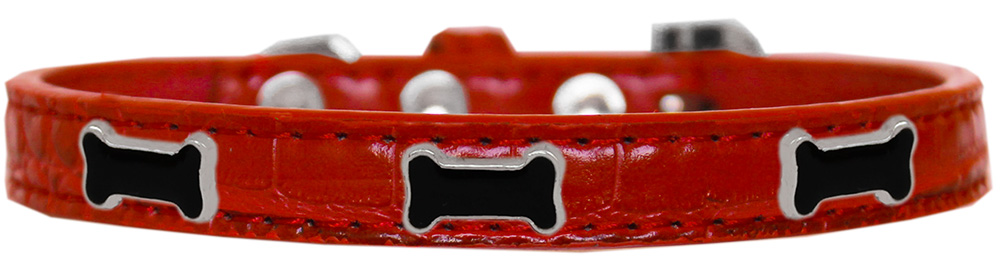 Black Bone Widget Croc Dog Collar Red