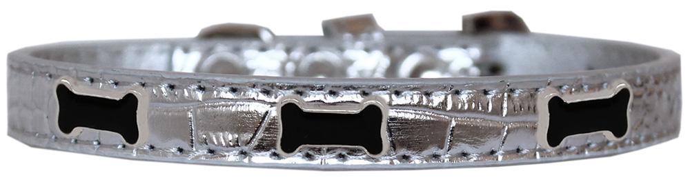 Black Bone Widget Croc Dog Collar Silver