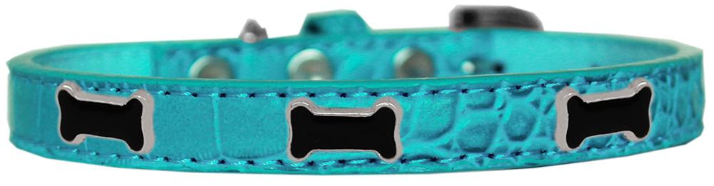 Black Bone Widget Croc Dog Collar Turquoise