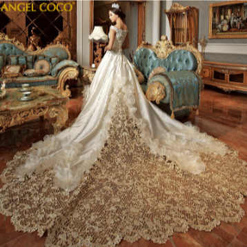 High-End Custom Royal Classic Court Wedding Dress Imported Satin Hollow Embroidery Wedding Gown Boda Robe De Mariee 2020 Marriage