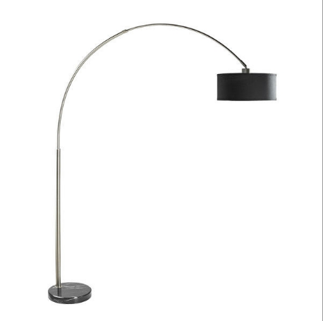 Modern 81-inch Tall Arch Floor Lamp with Black Drum Shade and Marble Base