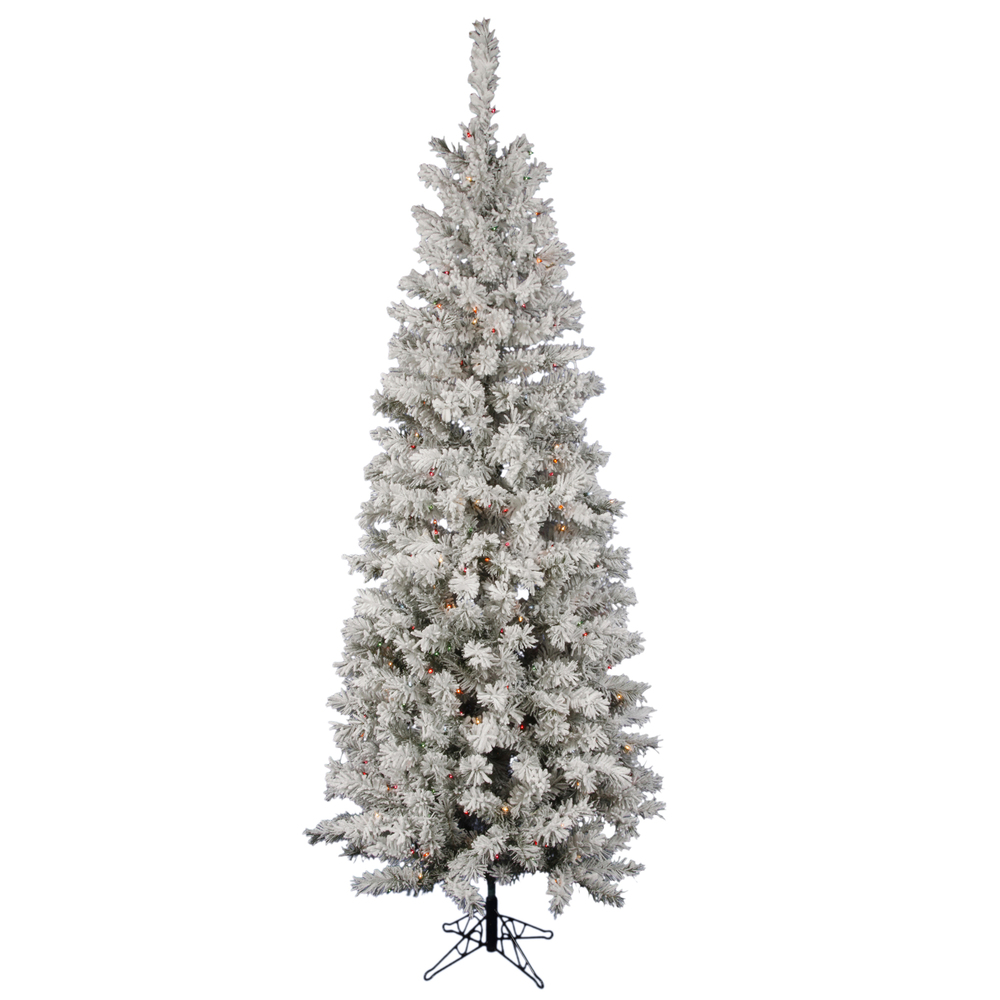 """Vickerman 9.5' x 44"""" Flocked Pacific Multi-Colored 600 LED Lights Artificial Christmas Tree A100387LED"""