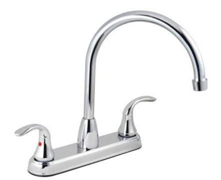 Aqua Plumb 1558030 CUPC AB1953 8-Inch Two-Handle Polished Chrome Gooseneck Spout Kitchen Faucet with Matching Spray