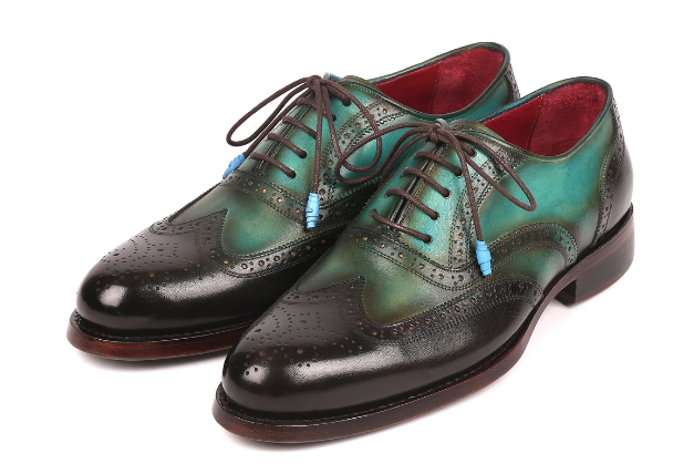 Paul Parkman Brown & Green Wingtip Oxfords Goodyear Welted 027-BRWGRN