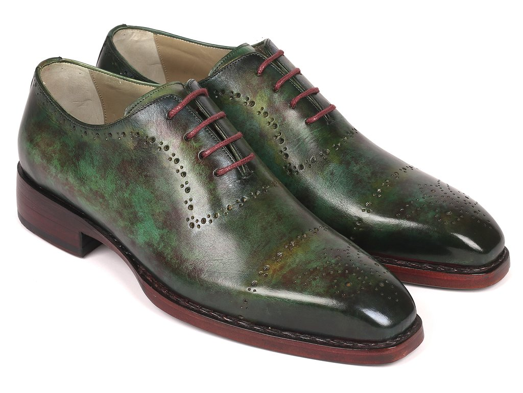 Paul Parkman Green Marble Patina Goodyear Welted Oxfords