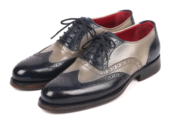 Paul Parkman Navy & Gray Wingtip Oxfords Goodyear Welted 027-NVYGRY