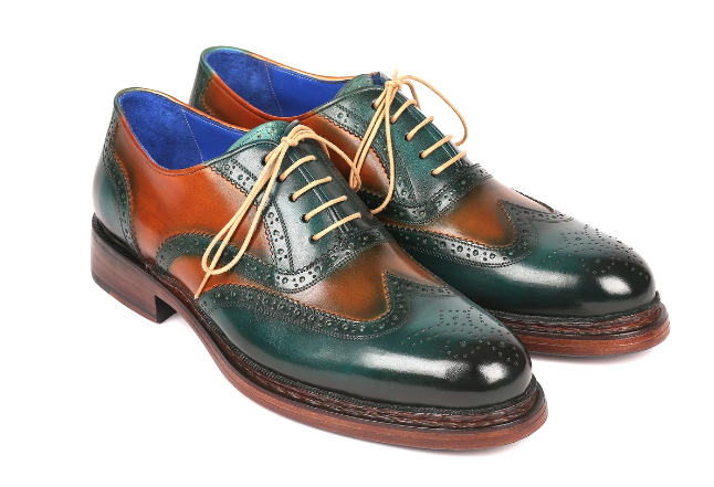 Paul Parkman Wingtip Oxfords Goodyear Welted Green & Tobacco 027-GRN-TAB