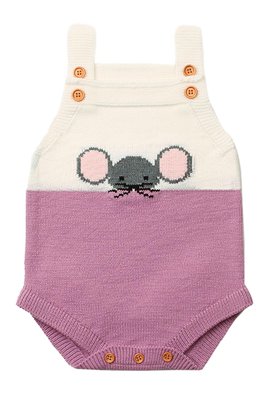 Lilac Little Mouse Cotton Bodysuit Sleeveless Baby Suit: TZ18044-8