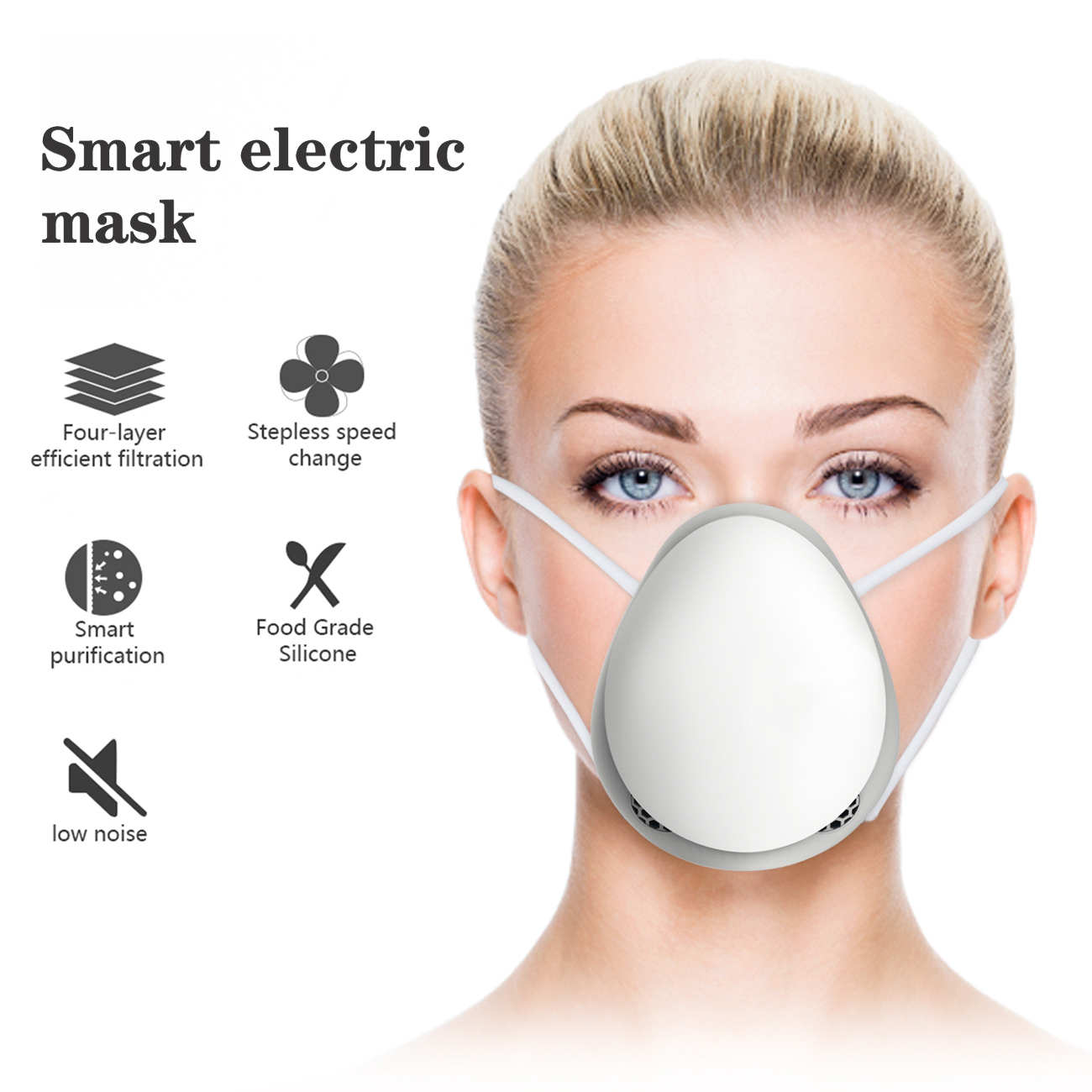Reiko Smart Electric Mask with 4-Layer efficient filtration FM05-WH