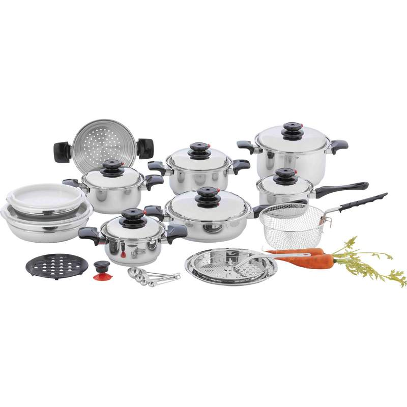 "Chef's Secret® 28 piece 12-Element T304 Stainless Steel ""Waterless"" Cookware KT928"
