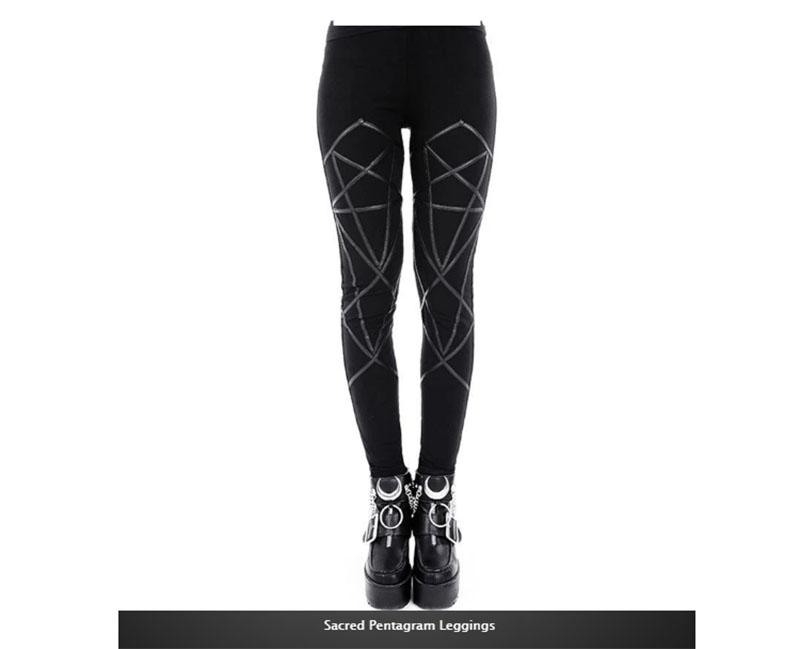 Black Faux Leather Pentagram Leggings
