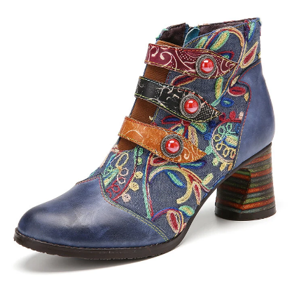 SOCOFY Flowers Embroidery Splicing Genuine Leather Wearable Sole Chunky Heel Ankle Boots
