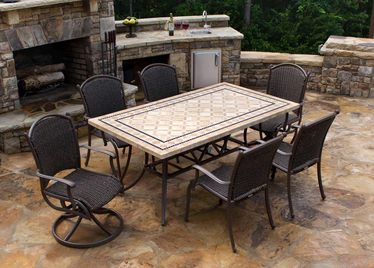 Tortuga Marquesas 7 Piece Dining Set 4 Chairs 2 Swivel Rockers 70