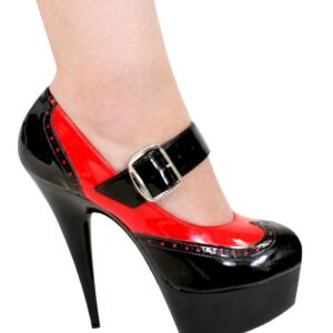 "Karo 0460 Red and Black Patent Leather 6"" Heels"