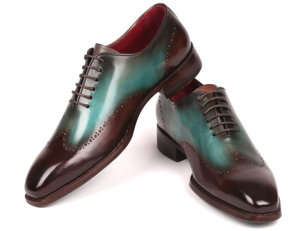 Paul Parkman Goodyear Welted Wingtip Oxfords Brown & Turquoise ID#081-BTQ