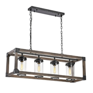 4 Light Adjustable Dimmable Rectangle Chandelier with Wrought Iron Accents