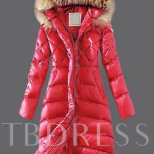 Faux Fur Hooded Long Warm Thicken A-line Women's Winter Overcoat Red