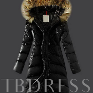 Faux Fur Hooded Long Warm Thicken A-line Women's Winter Overcoat Black