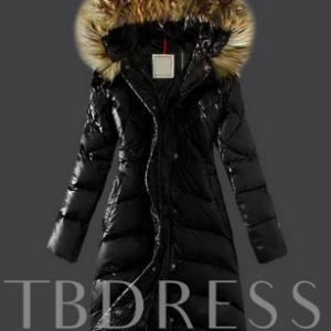 Faux Fur Hooded Long Warm Thicken A-line Women's Winter Overcoat Black